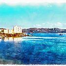 Island La Maddalena: sea landscape building and boats by Giuseppe Cocco