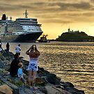 Queen Elizabeth II Cruise Ship - Newcastle Harbour NSW by Phil Woodman