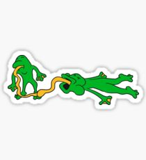 tongue kiss lick hold catch 2 frogs couple love tongues jump disgusting team buddies Sticker