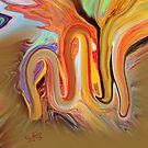 Allah Name Abstract Painting by HAMID IQBAL KHAN