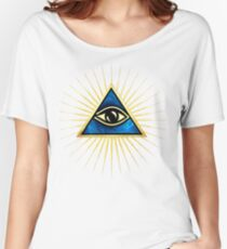 All Seeing Eye Of God, Flames - Symbol Omniscience Women's Relaxed Fit T-Shirt
