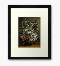 Gustave Courbet - Bouquet of Flowers in a Vase 1862 , Still Life Framed Print