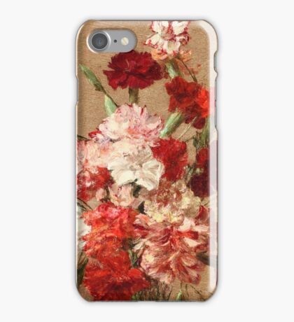 Henri Fantin-Latour - Carnations without Vase 1899 , Still Life iPhone Case/Skin
