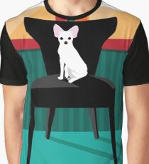 Flat design white Chihuahua on her chair. Graphic T-Shirt