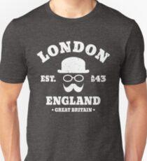 London England Hipster Bowler Hat Unisex T-Shirt