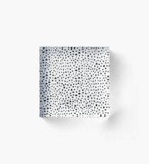 Modern Black and White Hand Drawn Polka Dots Acrylic Block