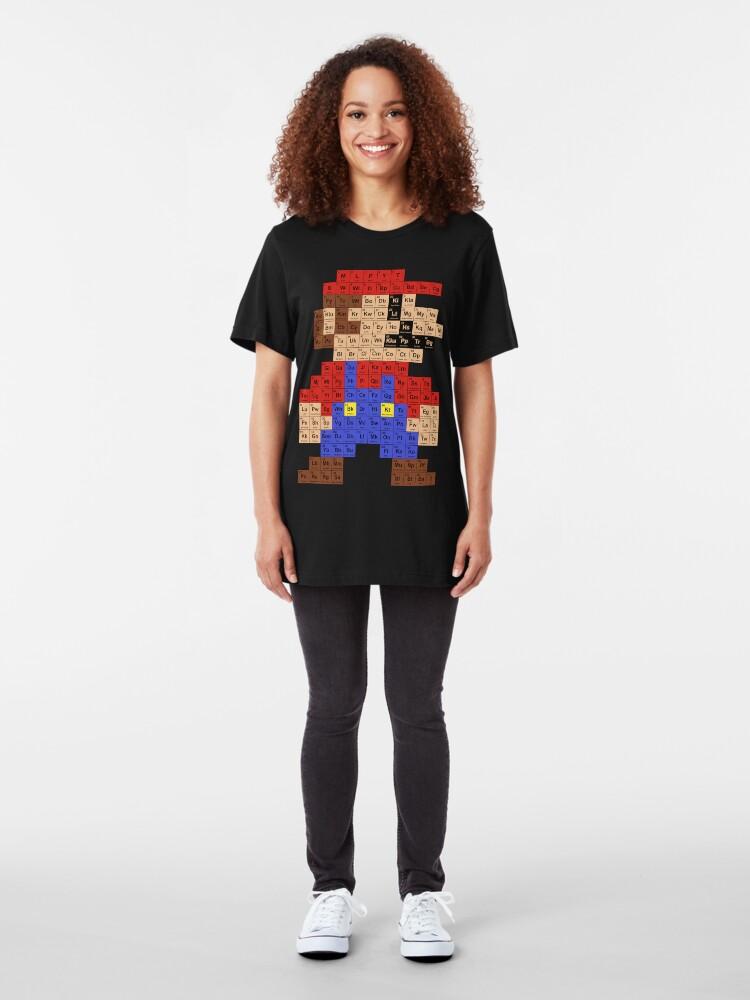 Vista alternativa de Camiseta ajustada Tabla periódica de Mario