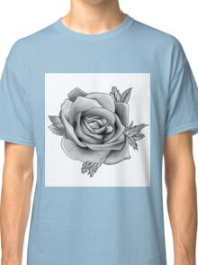 Black and White Watercolour Rose Classic T-Shirt