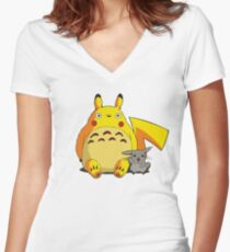 Totorotchu and Pikaro Women's Fitted V-Neck T-Shirt