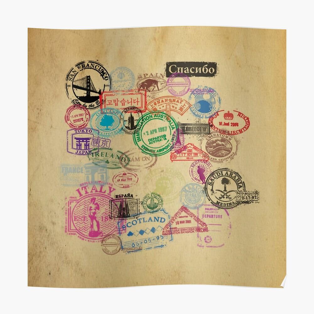 Vintage Passport Briefmarken Poster