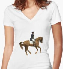 Dressage - At the Canter Women's Fitted V-Neck T-Shirt