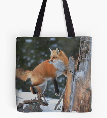 Red Fox On Stump Tote Bag