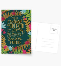 She Is Clothed In Strength And Dignity And Laughs Without Fear Of The Future, Floral Postcards