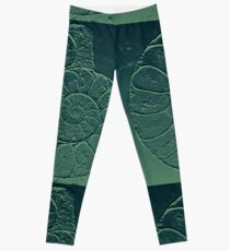 Geology Theme Ammonite in Blue-green and Grey Leggings