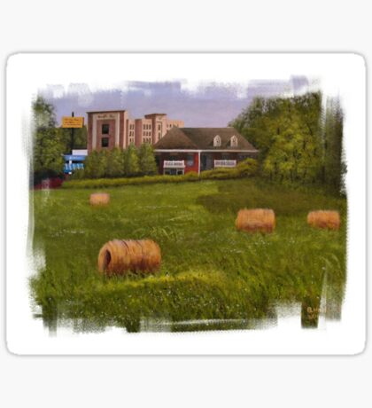 A LITTLE BIT OF COUNTRY, Acrylic Painting, with Custom Edging... prints and products Sticker