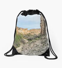 House on a Mountain Drawstring Bag