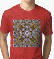 'Cobalt and Gold Mandala' Tri-blend T-Shirt