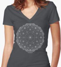 Cluster Blossoms [white design] Women's Fitted V-Neck T-Shirt