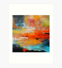 Red abstract sunset landscape painting Art Print