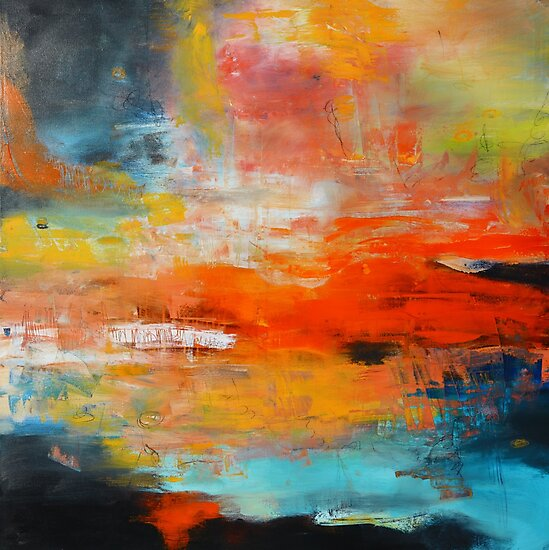 Red abstract sunset landscape painting by AndradaArt