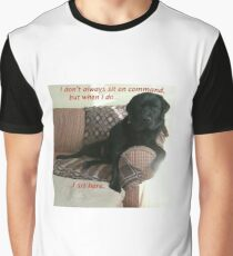 Black Dog Sits On Command on Couch Graphic T-Shirt