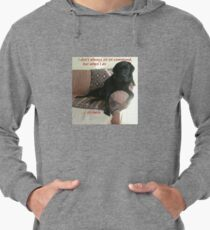 Black Dog Sits On Command on Couch Lightweight Hoodie