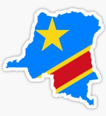 Flag Map of the Democratic Republic of the Congo  Sticker