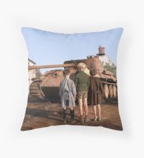 French boys looking at a knocked-out German Panther tank in the Falaise pocket, Normandy, 25 August 1944 Throw Pillow