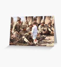 A French boy introduces himself to Indian soldiers who had just arrived in France to fight alongside French and British forces, Marseilles, 30th September 1914 Greeting Card