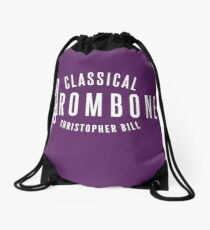 Classical Trombone Full White Logo Drawstring Bag
