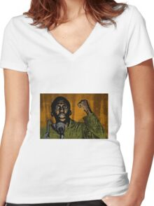 Thomas Sankara-4 Women's Fitted V-Neck T-Shirt