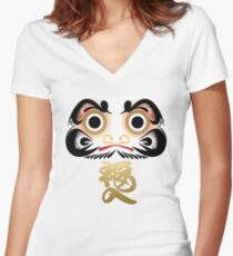 Luck & Good Fortune Daruma Women's Fitted V-Neck T-Shirt