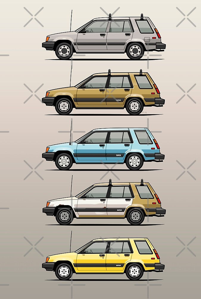 Stack Of Mark's Toyota Tercel Al25 Wagons by monkeycom