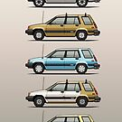 Stack Of Mark's Toyota Tercel Al25 Wagons by Tom Mayer