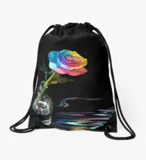 Rainbow Rose Drawstring Bag