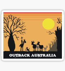 Aussie outback with boab tree and stockman design Sticker