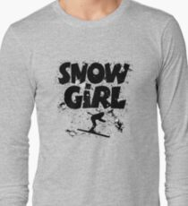 Snowgirl Ski Retro Long Sleeve T-Shirt