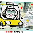 Cartoon of tabby cat driving New York taxi by Al Benge