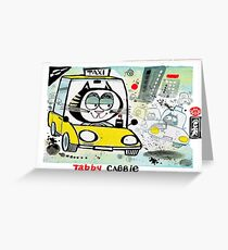 Cartoon of tabby cat driving New York taxi Greeting Card