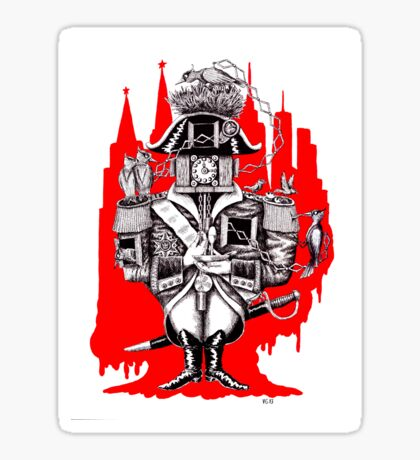 Imperial Clock surreal pen ink black white and red drawing Sticker