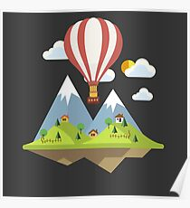 air trip mountain design balloon ballon montgolfière ballooning  Poster