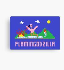 Flamingodzilla Pixel Canvas Print