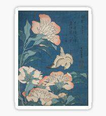 Katsushika Hokusai - Peonies and Canary Shakuyaku. Japanese Still Life . Flowers Sticker