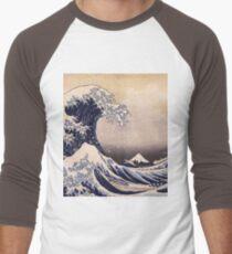 Katsushika Hokusai - The Great Wave Off the Coast of Kanagawa 19th century . Japanese Seascape Men's Baseball ¾ T-Shirt
