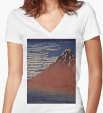 Katsushika Hokusai - Japanese Landscape . Rock Women's Fitted V-Neck T-Shirt
