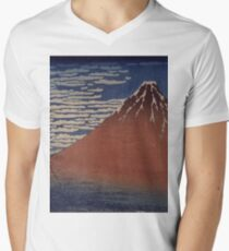 Katsushika Hokusai - Japanese Landscape . Rock Men's V-Neck T-Shirt