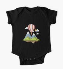 air trip mountain design balloon ballon montgolfière ballooning  One Piece - Short Sleeve