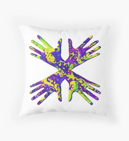 #DeepDream Painter's gloves 5x5K v1456325888 Throw Pillow