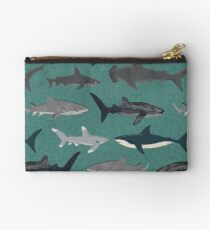 Sharks illustration art print ocean life sea life animal marine biologist kids boys gender neutral educational Andrea Lauren  Studio Pouch