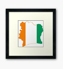 Flag Map of Côte d'Ivoire Framed Print